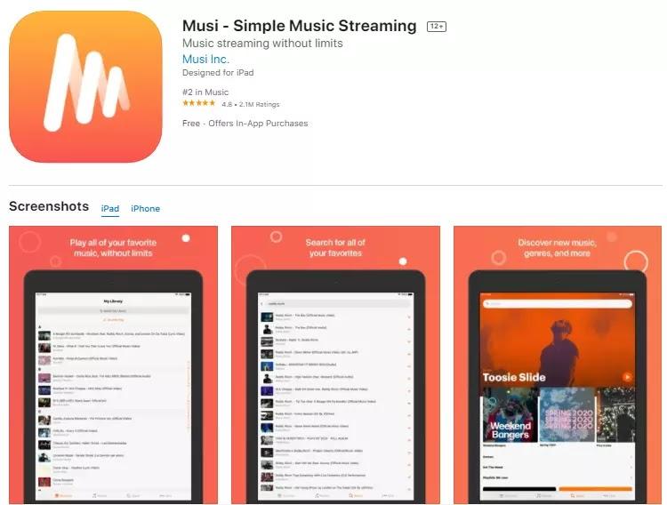 musi music streaming app iphone