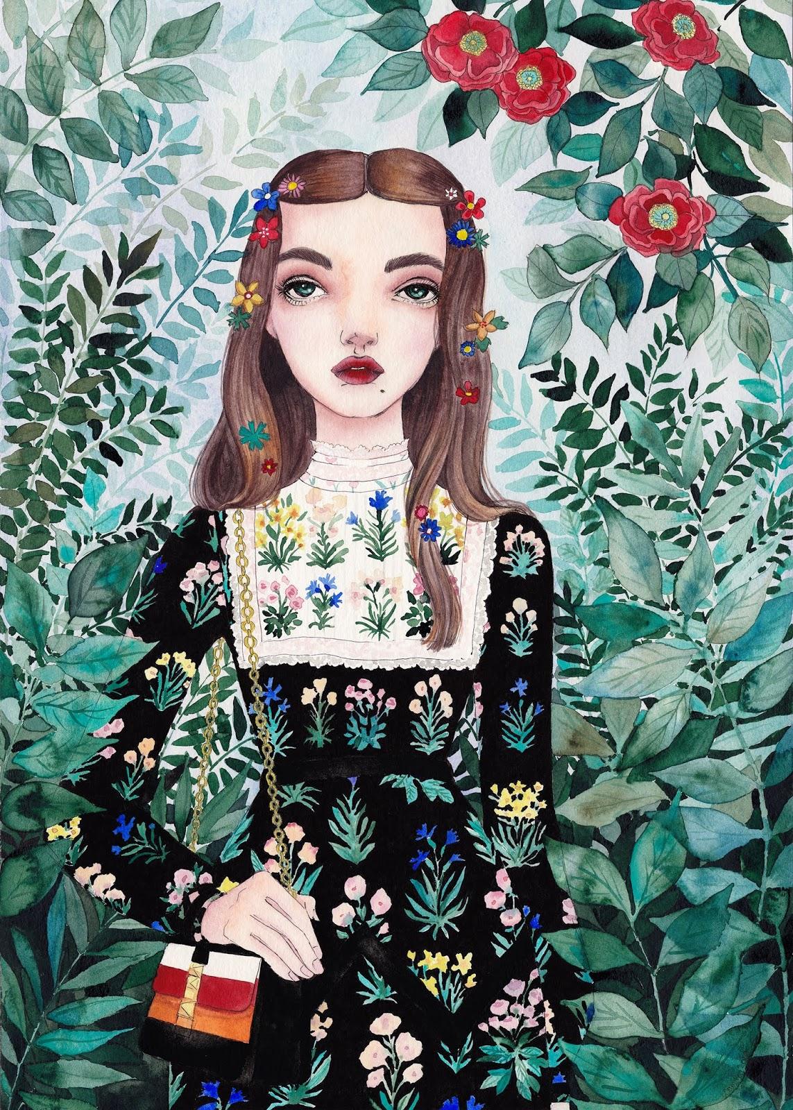 Ilustración de Camila Cerda joven con vestido de flores y flores en la cabeza