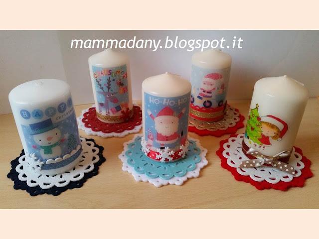 candele di natale stampate e decorate con centrino di feltro e gomma crepla