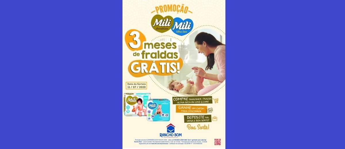 Promoção Rancho Bom e Mili 3 Meses Fraldas Grátis - Supermercados