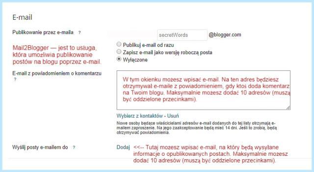 Ustawienie adresów E-mail na Bloggerze.