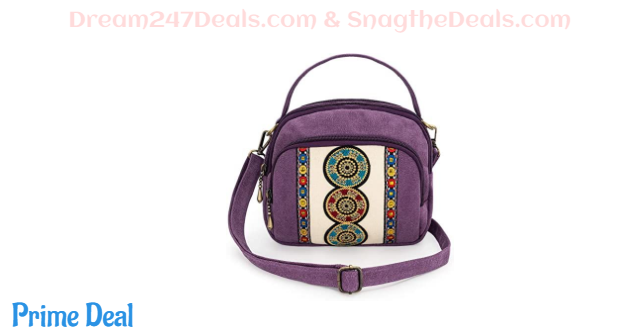 40% OFF Embroidered Canvas Small Crossbody Bag Cell Phone Pouch Vintage Coin Purse Wallet Bag