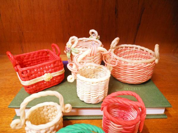 porcelana fria souvenirs tejido canastas