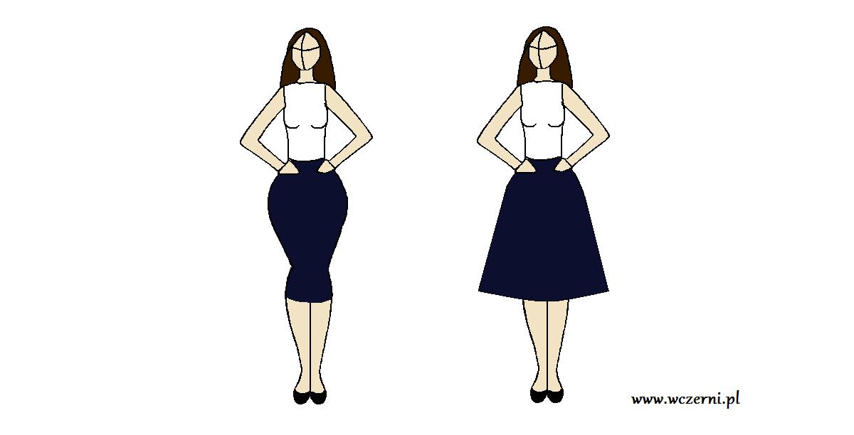 szerokie biodra wyszczuplone za pomocą odpowiednio dobranej długości spódnicy