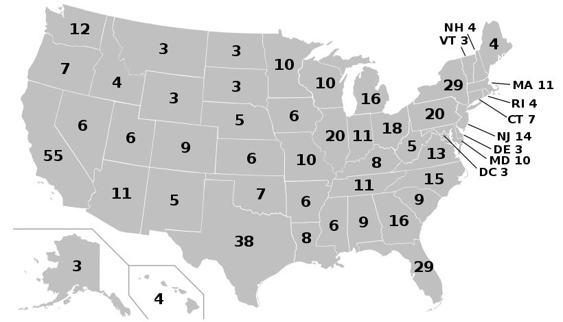 United States electoral map. Who will dominate per state?