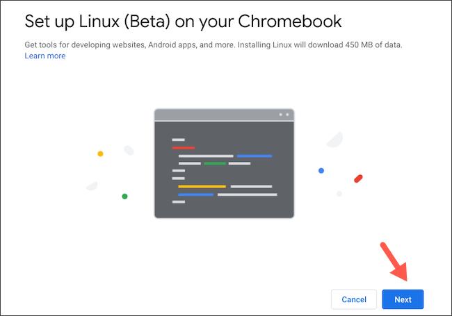 قم بإعداد Linux على Chromebook