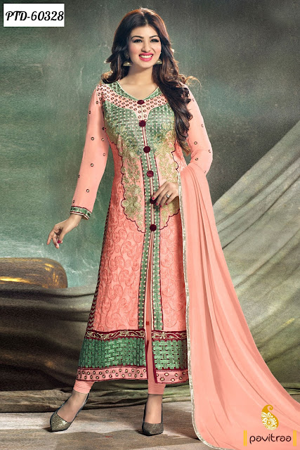 bollwood actress heroine Ayesha Takia special peach color salwar kameez online shopping for party wear at lowest prices with free shipping and cash on delivery service in India