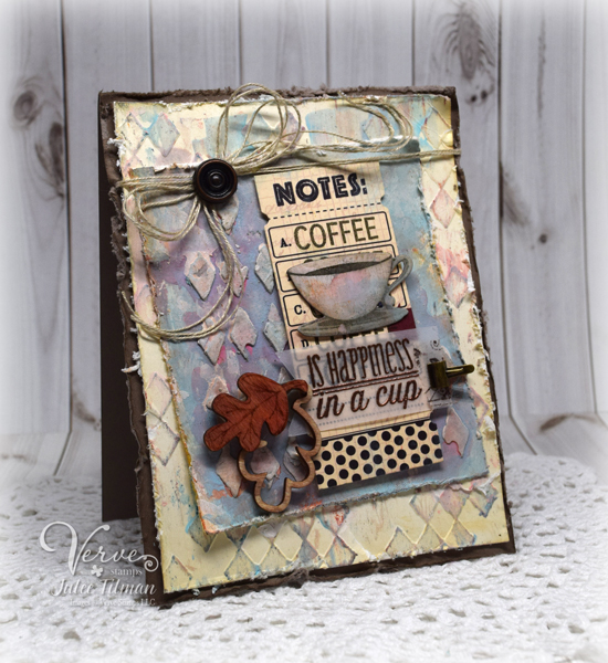 Handmade mixed-media card by Julee Tilman featuring Verve Stamps. www.poeticartistry.blogspot.com