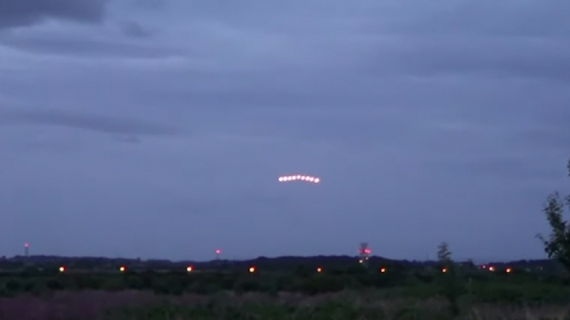 Lancashire in the UK has seen a rise in UFO sightings like this Triangle shaped UFO Formation.