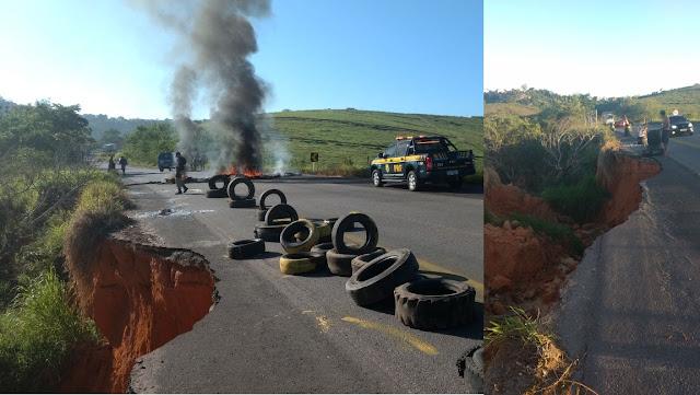 CATU: moradores bloqueiam a BR-110, em protesto contra cratera