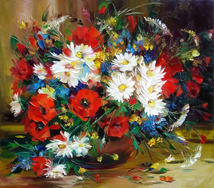 Александр Сергеев - Alexander Sergeev 1968 | Russian Still life painter | Knife painting