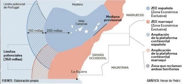 Zonas declaradas como ZEE por Marruecos en lo que considera su plataforma continental a 350 km. de sus costas y que se adentran en aguas de la Zona Económica Exclusiva de España en las Canarias.