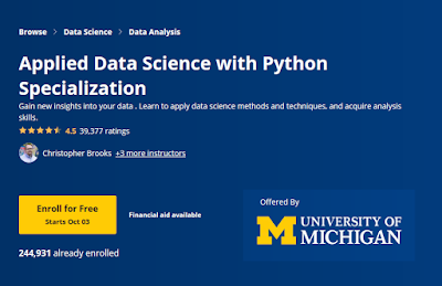Coursera Course Review - Applied Data Science with Python Specialization