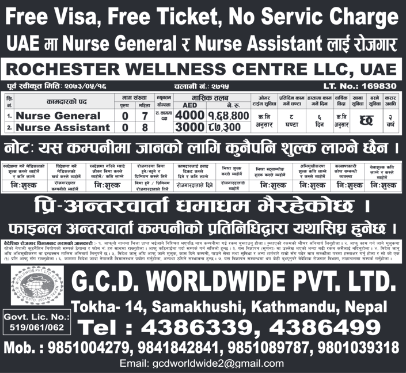 Free Visa, Free Ticket, No Service Charge, Jobs For Nepali In U.A.E. Salary- Rs.1,64,400/