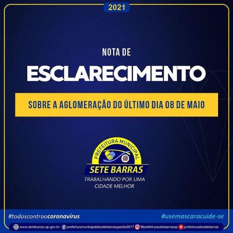 NOTA DE ESCLARECIMENTO AOS MUNÍCIPES DE SETE BARRAS