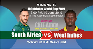 15th Match WI vs SA 2019 World Cup Today Match Prediction