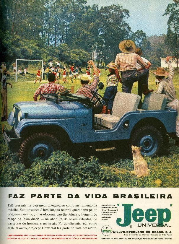 Propaganda antiga da Jeep promovendo seu modelo clássico de automóvel em 1956