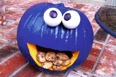 kids cookie monster halloween pumpkin carving decorating ideas DIY