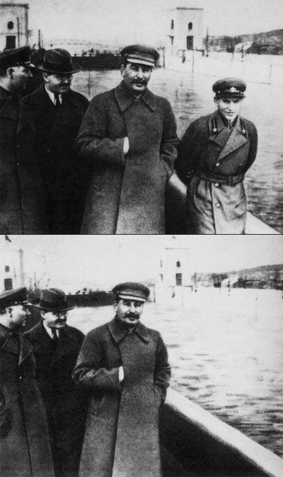 Nikolai Yezhov, pictured right of Stalin, was later removed from this photograph at the Moscow Canal.