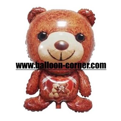 Balon Foil Karakter Teddy Bear Coklat / Teddy Bear Valentine's