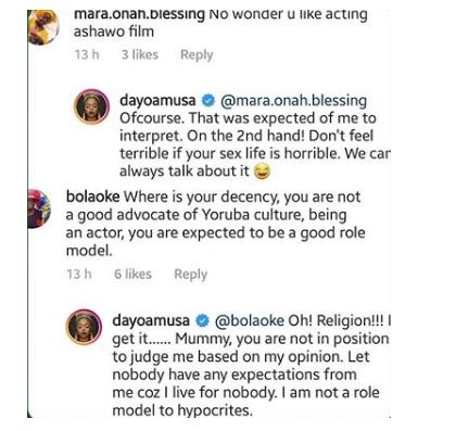 Dayo Amusa reacts after being dragged for saying she enjoys making love