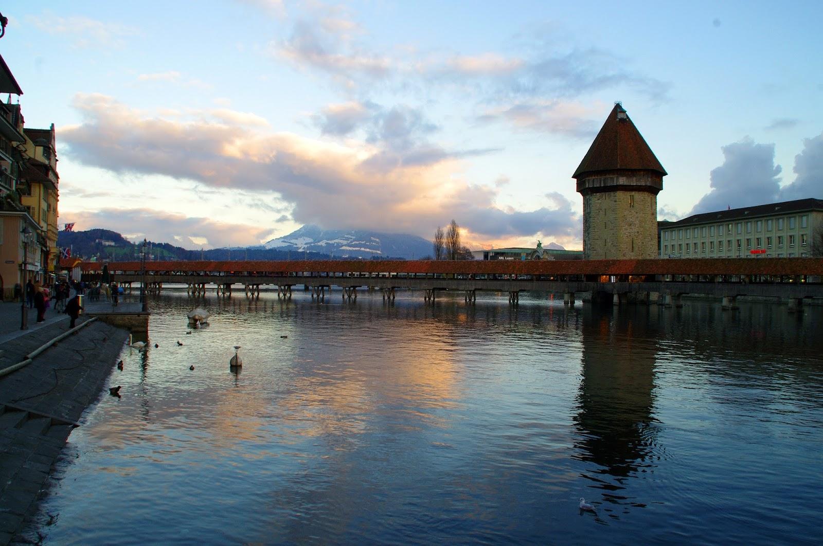 Lake Lucerne Chapel Bridge Switzerland