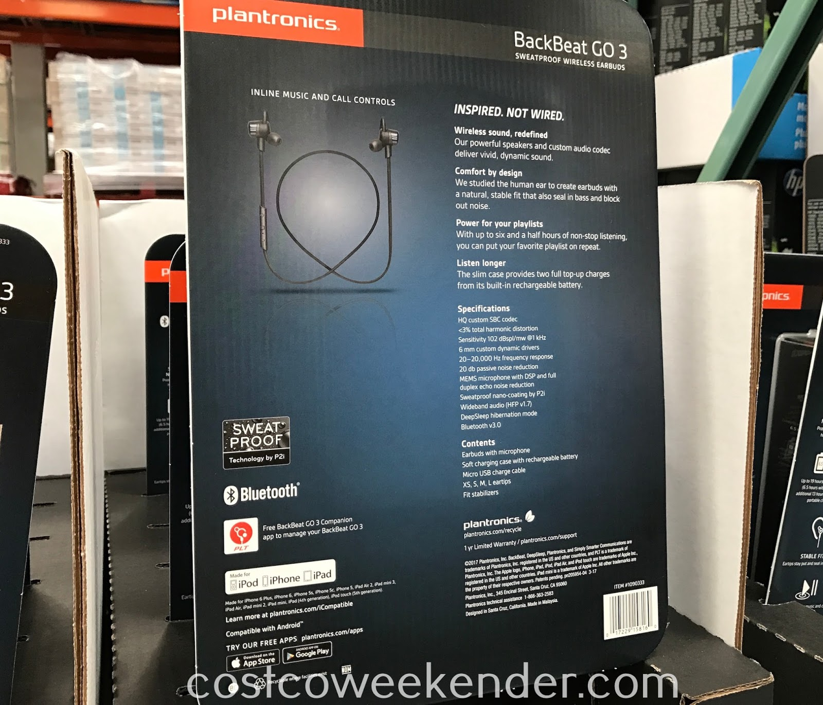 Costco 1090333 - Your mobile device is not complete without the Plantronics BackBeat GO 3 Sweatproof Wireless Earbuds