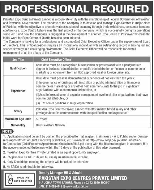 Jobs in Pakistan Expo Centres Private Limited