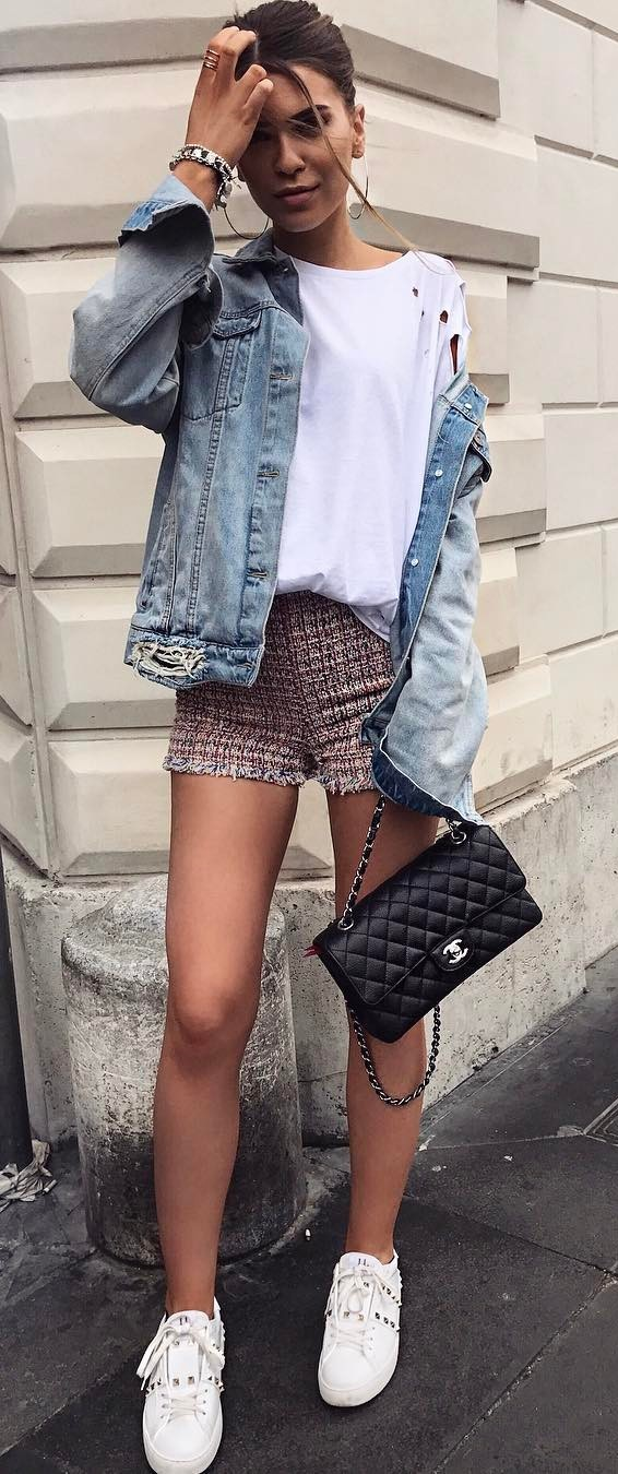 casual style perfection: jacket + top + skirt