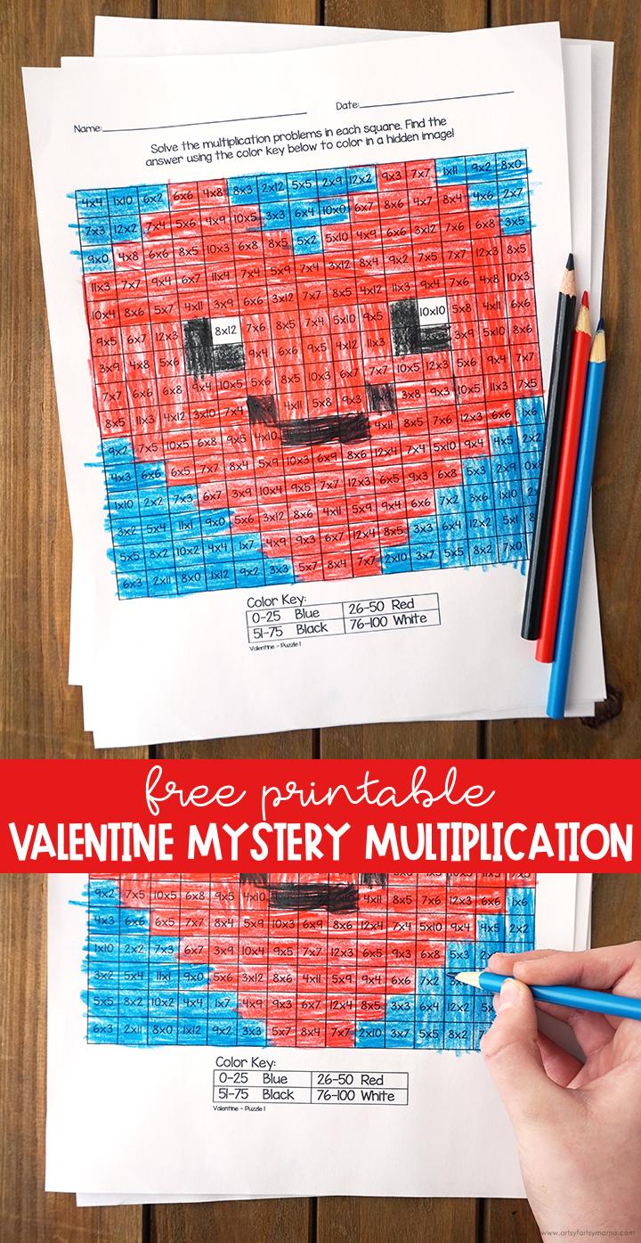 Free Printable Valentine Mystery Multiplication Worksheets