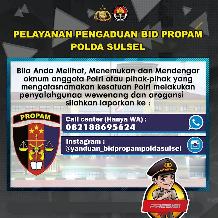 Bidang Propam Polda Sulawesi Selatan, Menyediakan Pelayanan Pengaduan Untuk Masyarakat Sulsel