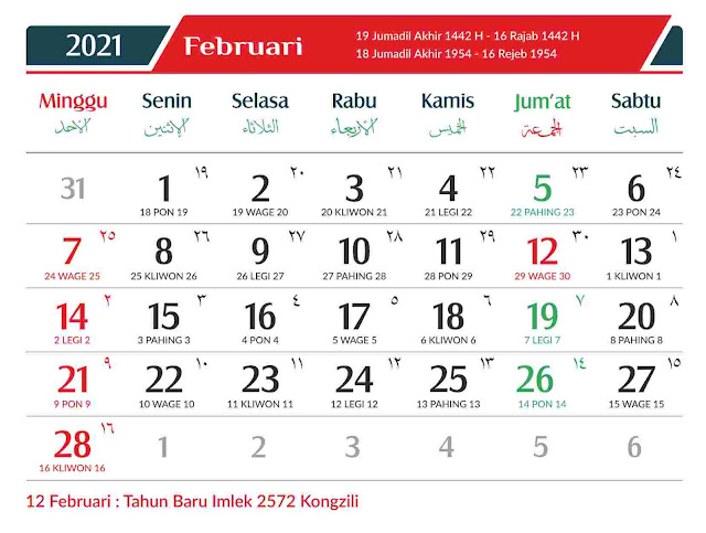 Download Kalender 2021 Gratis Lengkap