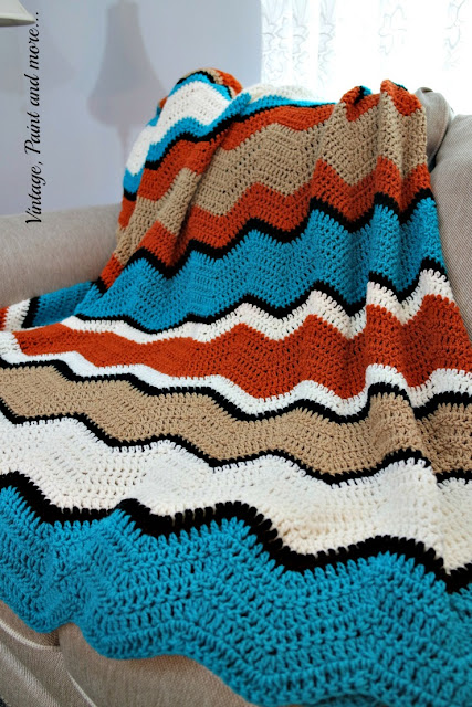 Tribal colors used to crochet a ripple design afghan