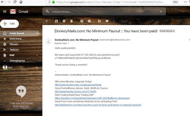 Bukti Payout via Bitcoin dari Donkeymails