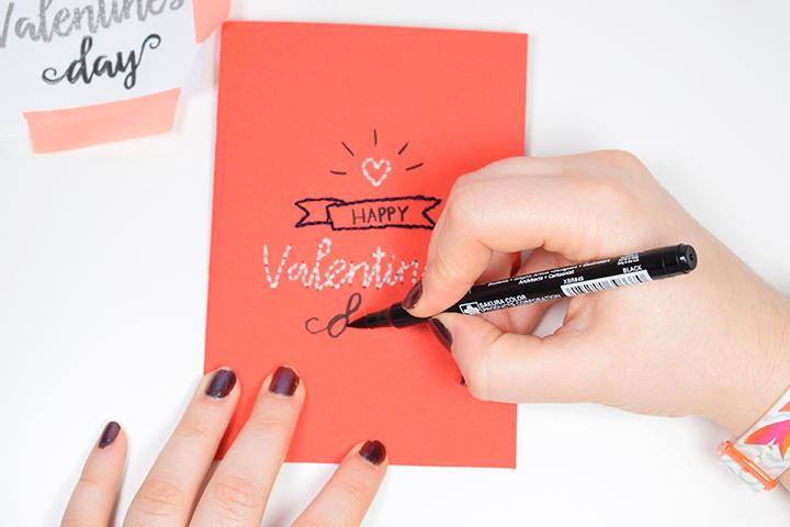 Etape 6 DIY broder une carte de saint valentin