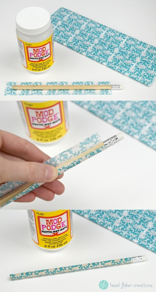 3 Techniques to Decorate Pencils - back to school diy stationery project; Mod Podge and tissue paper. Hazel Fisher Creations