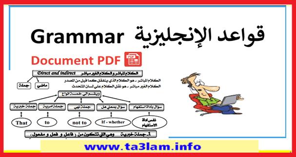 قواعد اللغة الانجليزية pdf في 29 صفحة مع الشرح بالعربية للتحميل PDF