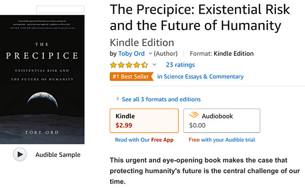 "Amazon offers the Kindle version of ""The Precipice"" by Toby Ord for $2.99 (Source: Amazon.com)"