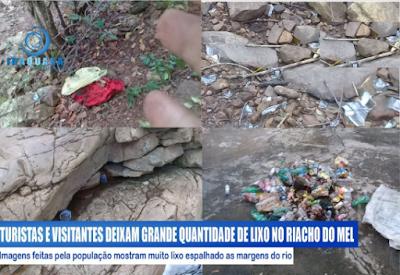 Iraquara/BA: Turistas e visitantes deixam uma grande quantidade de lixo na comunidade de Riacho do Mel