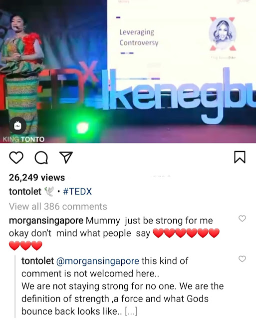 Your comment is not welcome here Tonto Dikeh slams a follower who told her to be strong