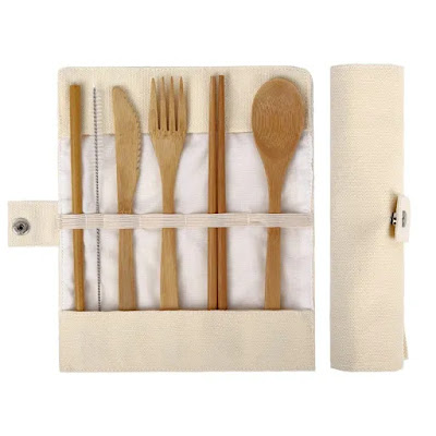 A picture of a set of bamboo eating utensils for zero waste dining