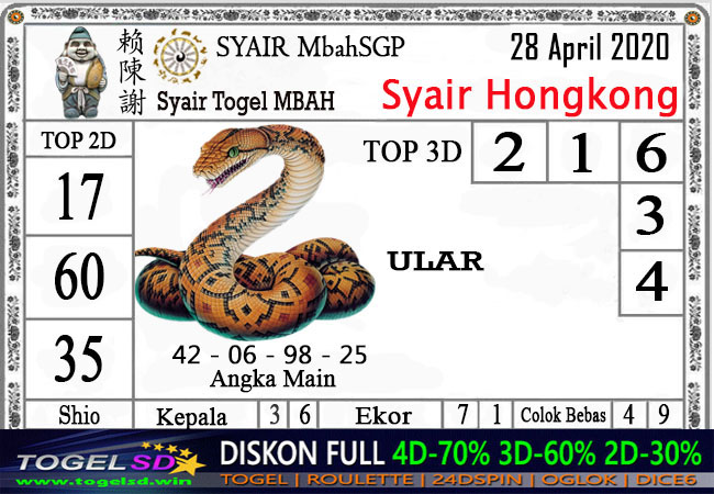 Prediksi Togel Hongkong 28 April 2020 - Syair Mbah HK