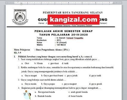 Soal UAS / PAT / UKK Kelas 4 Tema 8 Kurikulum 2013 Revisi 2019/2020 kangizal.com