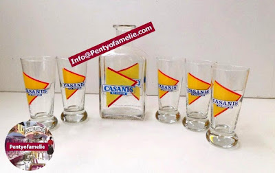 French vtg Casanis pastis drinkware Ads, 1 water bottle with five shot glasses Matching Set