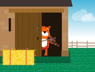 Tocando el violín, un Gato salió del granero