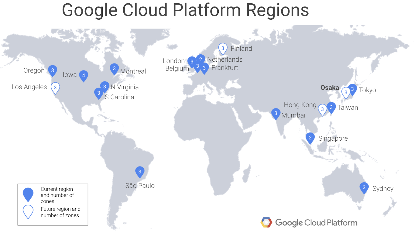 overall the osaka region brings the total number of existing and announced gcp regions around the world to 19with more to come
