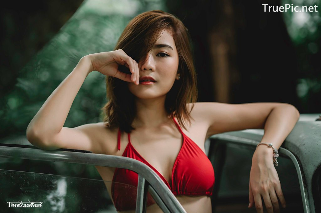 Image Thailand Model - Pattaravadee Boonmeesup - Red Bikini Top and Jean - TruePic.net - Picture-4