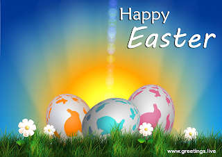 Happy Easter celebration greetings, Easter Eggs and Flowers