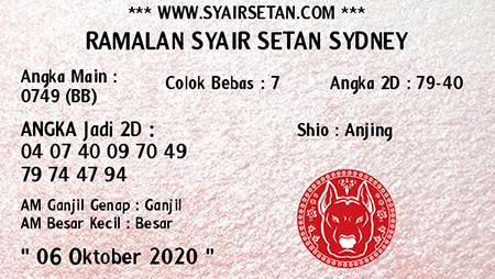 Syair Setan Sydney Selasa 06 Oktober 2020