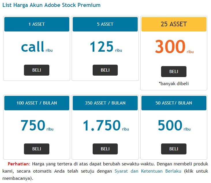 daftar harga akun adobe stock premium